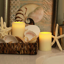 Pacific Accents Indoor Flameless Ivory Wax Pillar Candle with 4 and 8 Hour Timer