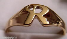 KAEDESIGNS, GENUINE, SOLID YELLOW OR ROSE OR WHITE GOLD 375 LARGE INITIAL RING R