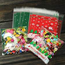 50PCS Self Adhesive Candy Bag Cellophane Pack Cookies Cello Bags Xmas Party Gift