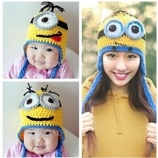 Winter Baby Boy Girl Kids Warm Crochet Knit Ear Ski Minions Hat Flap Beanie Cap