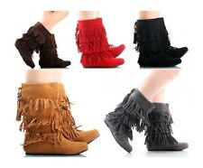 Women Mid Calf Faux Suede Moccasins Flat 3 Layer Fringe Pull Up Boots Shoes