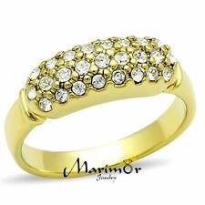 STAINLESS STEEL 316 14K GOLD ION PLATED 6mm WIDE  CRYSTAL FASHION RING SIZE 5-10