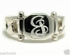 Fancy Initial Engraved Lady's Signet Ring, Monogram Font, Sterling Silver Size 7