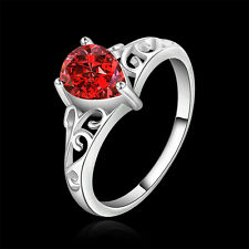 925 sterling silver Plated Red Zircon Love Heart Size 7 8 ring gift box 523-RK