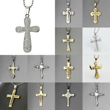 New Gift Unisex's Men Gold Silver Tone Stainless Steel Cross Pendant Necklace