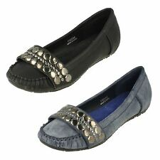 Ladies Spot On Flat Moccasin Shoes