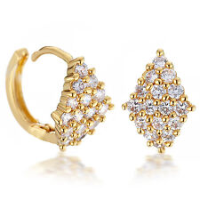 Women Yellow Gold Filled Round Hoop Created Diamond Earrings USGM069 Z1