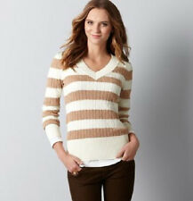 Ann Taylor Loft Long Sleeve Striped Cable V Neck Sweater Top XS S M  New