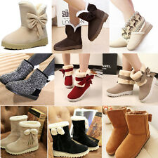 Warm Bowknot Fur Lined Midcalf Women Flat Snow Ankle Boot Winter Round Toe Shoes