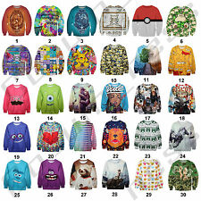 3D Graphic Print Cartoon Funny Celebrity Disney Sweat Jumper Cute Hip Hop Urban