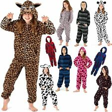 KIDS GIRLS BOYS HOODED ONESIE EARS FLEECE ONESIE PRINTED PLAYSUIT JUMPSUIT