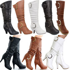 Knee High Slouched Kitten Low & High Heel Women Buckle Boots Platform Party Shoe