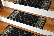 Dean Bullnose Wraparound Non-skid DIY Carpet Stair Treads - Trellis Black