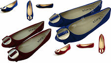 BRAND NEW LADIES D RED/BLUE FLAT SUEDE DOLLY SHOES BALLET WOMEN'S SIZE 3-8
