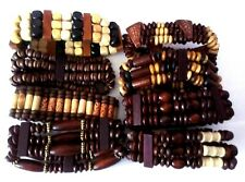 Unisex Wooden Tribal Elasticated Bracelets - One Size Fits All