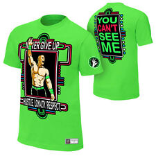 WWE AUTHENTIC John Cena LIME GREEN NEON GREEN Never Give Up T-Shirt - BRAND NEW