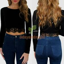 New Women Fashion Round Neck Long Sleeve Lace Crop Top Tops T-shirt Blouse  NIGH