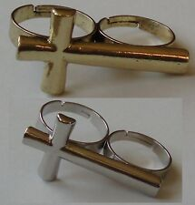 double ring Cross silver coloured or Double 2 Finger Ring Two Finger ring