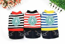 New Pet Puppy Jeans Dog Clothes Clothing Denim Skirt with  Striped Keep Warm