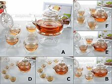 Kinds Glass Tea Sets - 18.6fl.oz Flower Teapot w/ Tea Cups (w/ Teapot Warmer A)