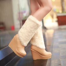 Sweet Pull On Womens Fur Furry High Platform Wedge Heel Mid Calf Snow Boots4.5-8