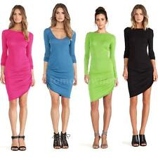 New Fashion Women Bodycon Candy Color Scoop Neck Long Sleeve Asymmetric Dress
