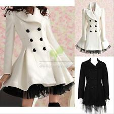 Fashion Lady Slim Fit Wool Women Double Breasted Trench Warm Coats Jacket
