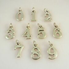 .925 Sterling Silver Number 1 2 3 4 5 6 7 8 9 0 Block Pendant Charm NEW # 925