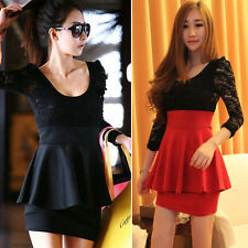 XMAS GIFT Red Women Girl Long Sleeve Lace Splicing Mini Cocktail Dress Size XS~M