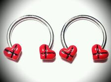 Nipple Rings Jewelry Horshoes Bars Barbells Red Bows Hearts Pair Surgical Steel
