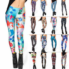Women's 3D Graphic Printing Leggings Stretch Elastic Punk Jeggings Tight Pants