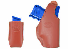 New Barsony Burgundy Leather OWB Holster + Magazine Pouch Glock Comp 9mm 40 45
