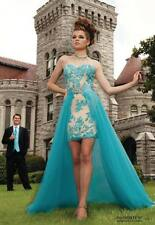 2015 High Low Prom Dresses Beaded Applique Formal Evening Party Cocktail Gown