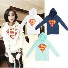 XMAS Women Superman Sweatshirt Sweater Coat Tops Long Sleeve Pullover Hoodie New