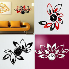 Modern Crystal DIY Wall Clock 3D Flower Mirror Sticker Home Room Decoration Hot