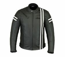 Mens Fashion Leather motorcycle motorbike Black jacket with Armour