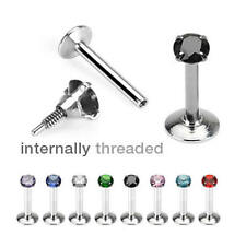 Internally Threaded Round Gem Monroe Lip Tragus Helix Bar 16g Choose Colour