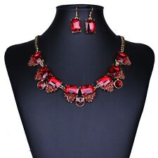 Celeb Women Luxury Fashion New Hot Sell Bling Crystal Party Bib Necklace Earring
