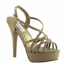 Cali Nude Taupe Silver Metallic Prom Pageant High Heel Platform Sandal Shoes