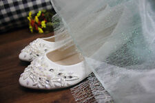 White pearl Wedding flat ballet lace flowers Bridal shoes Bridesmaid dress