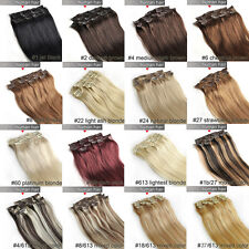 "16""18""20""22""24""26""28"" Clip in Remy Real human hair extensions Straight any color"
