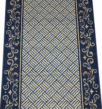 Dean Navy Blue Scroll Border Washable Non-Skid Carpet Rug Runner