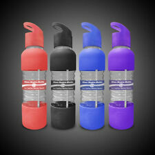 New Wave Enviro 20oz Reusable Glass Drinking Water Bottle w Straw Silicon Sleeve