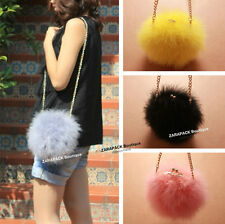 Wholesale Designer Women bag Fluffy feather round clutch fax fur bag with chain