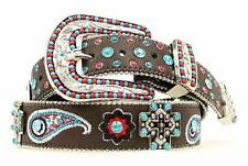 Blazin Roxx Womens Belt Cross Concho Floral Paisley Embroidered Brown N3519202