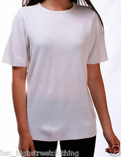 BHS Ladies Cream Super Soft Short Sleeve Thin Knit Jumper Tshirt Sweater