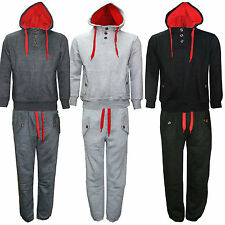 NEW MENS FLEECE TRACKSUIT JOG SUIT JOGGING PANTS TOP & BOTTOM HOODIE S M L XL