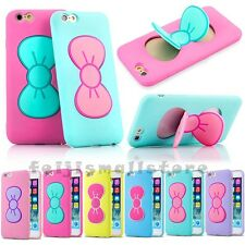 Cute Sweet Lovely Bow Bowknot Stand GEL Silicone Rubber Case Cover For iPhone