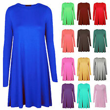New Womens Long Sleeve Stretch Skater Flared A Line Swing Dress Top Size 8-26