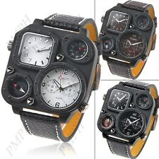Men's OULM dual time display sports trendy quartz wrist watch with compass